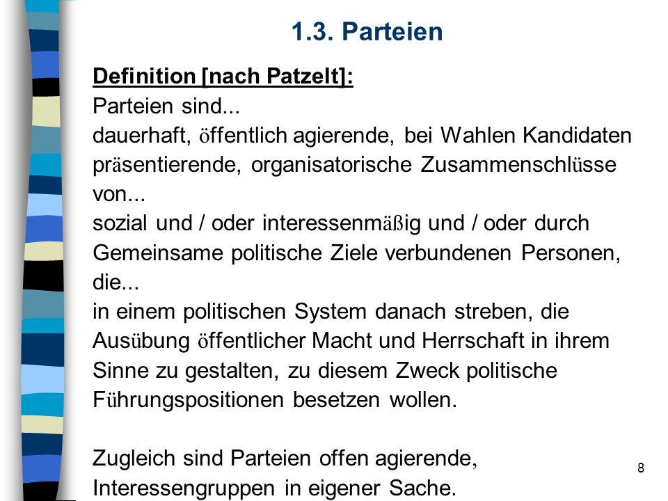 1.3. Parteien Definition [nach Patzelt]: Parteien sind...